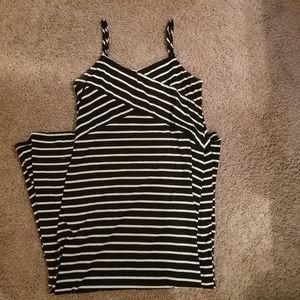 Faded Glory black&white striped maxi dress